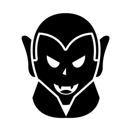 cartoon vampire icon over white background, silhouette style, vector illustration