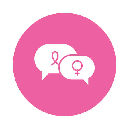 speech bubbles with female gender symbol and cancer ribbon icon over white background, block style, vector illustration