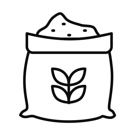 wheat bag icon over white background, line style, vector illustration