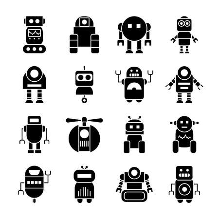 icon set of robotics and robots over white background, silhouette style, vector illustration