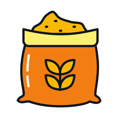 wheat bag icon over white background, line and fill style, vector illustration