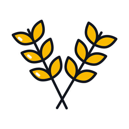 wheat ears icon over white background, line and fill style, vector illustration