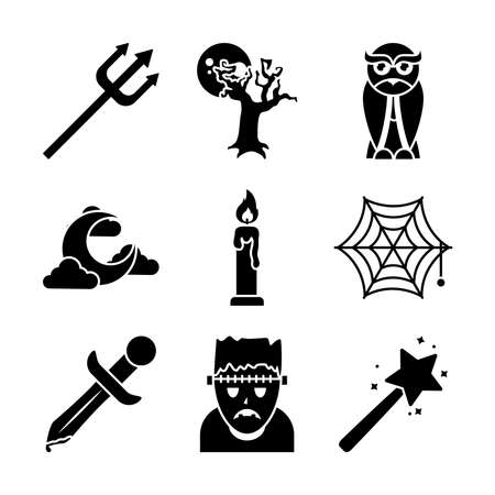 icon set of halloween and magic wand over white background, silhouette style, vector illustration