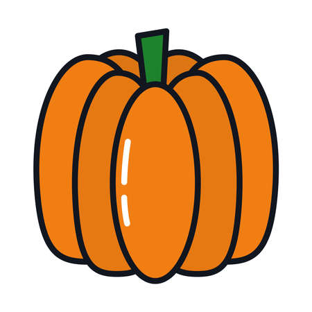 pumpkin icon over white background, line and fill style, vector illustration