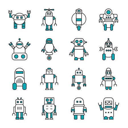 robots with wheels and robotics icon set over white background, half line half color style, vector illustration