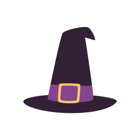 Halloween witch hat free form style icon design, Holiday and scary theme Vector illustration Ilustración de vector