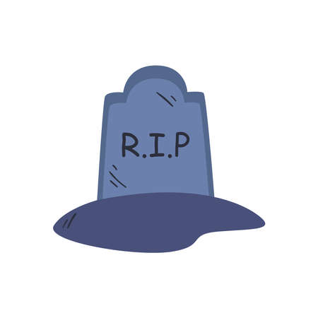 grave free form style icon design, death tomb cementary and scary theme Vector illustration