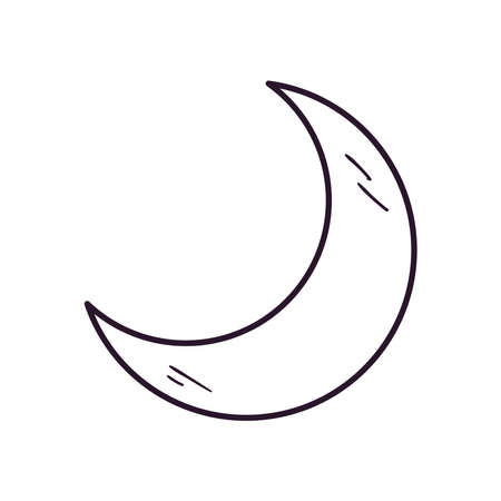 Moon free form line style icon of night bedtime sky space moonlight nature light lunar and science theme Vector illustration