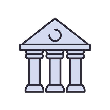 court building line and fill style icon design, Law justice legal judgment and judical theme Vector illustration
