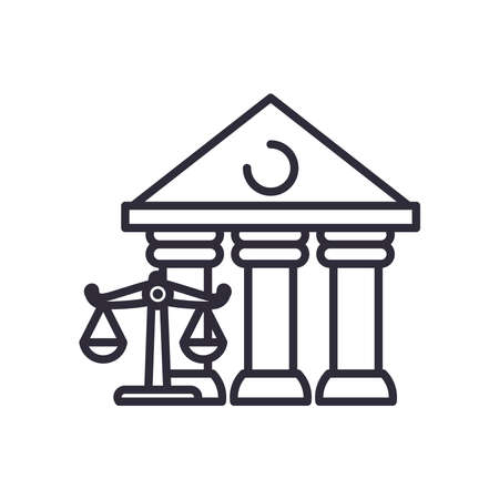 balance scale and court building line style icon design, Law justice legal judgment and judical theme Vector illustration