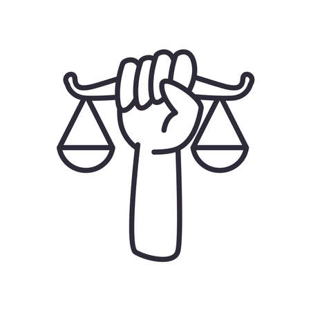 hand holding balance scale line style icon design, Law justice legal judgment and judical theme Vector illustration Vektorgrafik