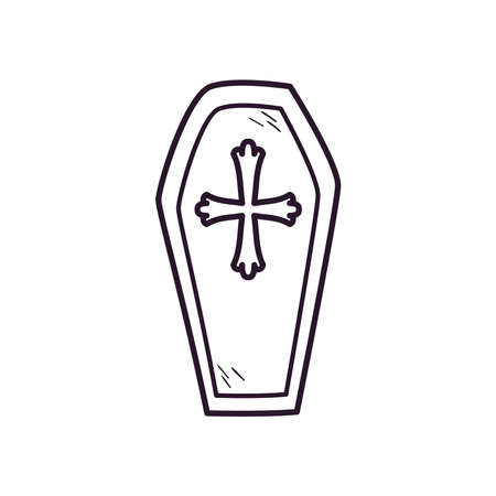 coffin with cross free form line style icon design, death tomb cementary and scary theme Vector illustration