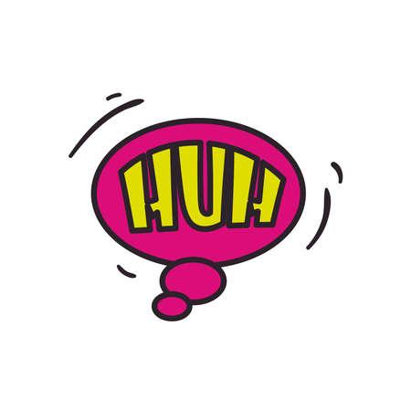 huh bubble line and fill style icon design of pop art retro expression comic theme Vector illustration
