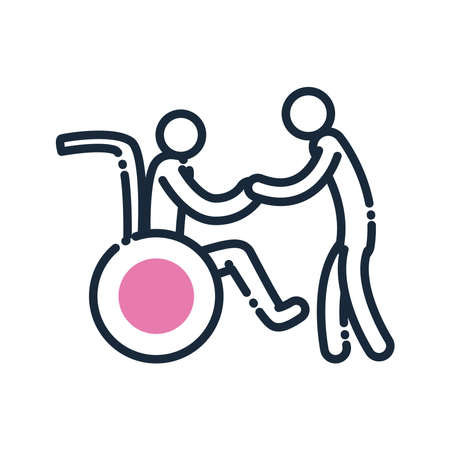man helping other on wheelchair line and fill style icon of Handicapped disability and medical theme Vector illustration