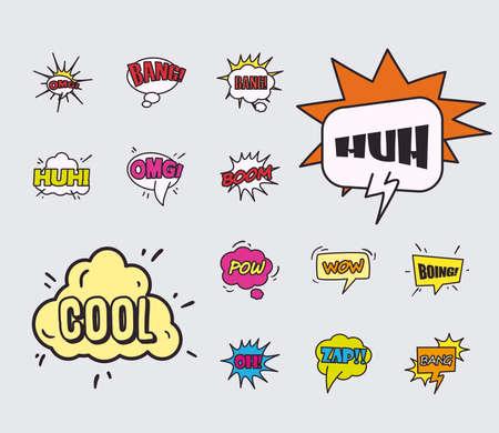 bubbles line and fill style icon set design of pop art retro expression comic theme Vector illustration