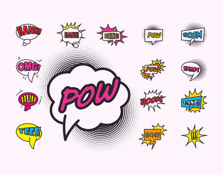 bubbles line and fill style set of icons design of pop art retro expression comic theme Vector illustration
