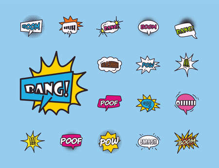 bubbles line and fill style collection of icons design of pop art retro expression comic theme Vector illustration