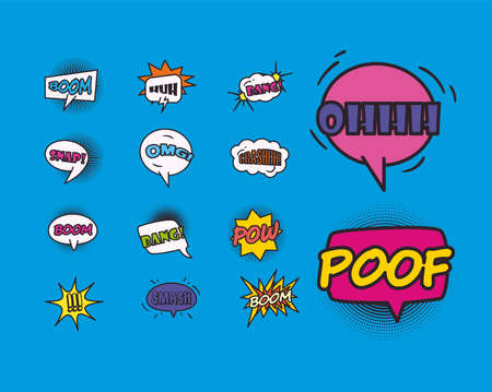 bubbles line and fill style set icons design of pop art retro expression comic theme Vector illustration