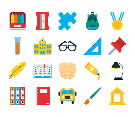 school backpack and school icon set over white background, flat style, vector illustration Ilustración de vector