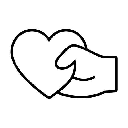 hand holding a heart icon over white background, line style, vector illustration