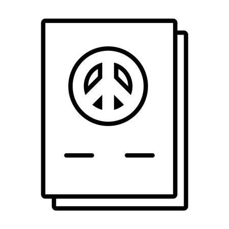 documents with peace symbol icon over white background, line style, vector illustration