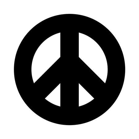 symbol of peace icon over white background, silhouette style, vector illustration 矢量图像