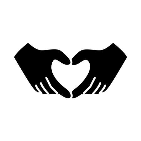 hands with heart gesture over white background, silhouette style, vector illustration
