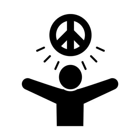 pictogram man with peace symbol icon over white background, silhouette style, vector illustration Ilustração
