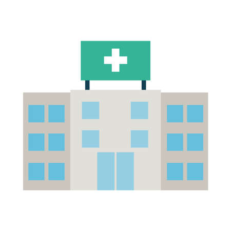 hospital building icon over white background, flat style, vector illustration
