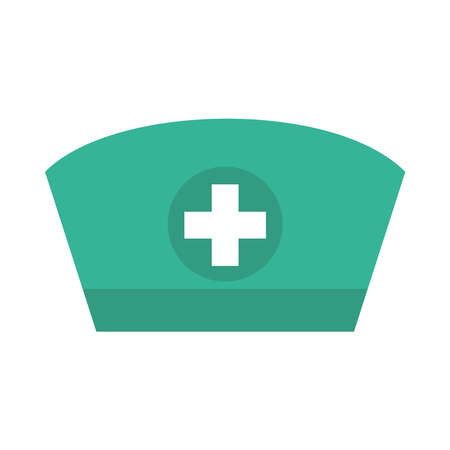 nurse hat icon over white background, flat style, vector illustration