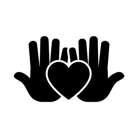 heart and hands icon over white background, silhouette style, vector illustration