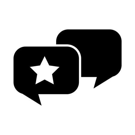 speech bubbles with star icon over white background, silhouette style, vector illustration