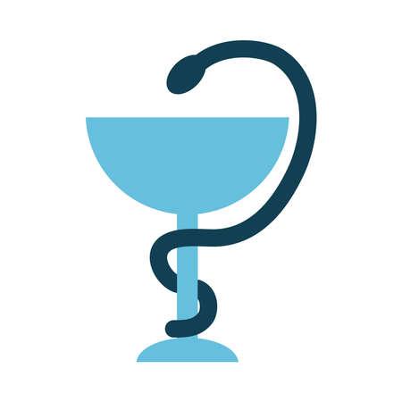 Pharmacy Snake Symbol icon over white background, flat style, vector illustration