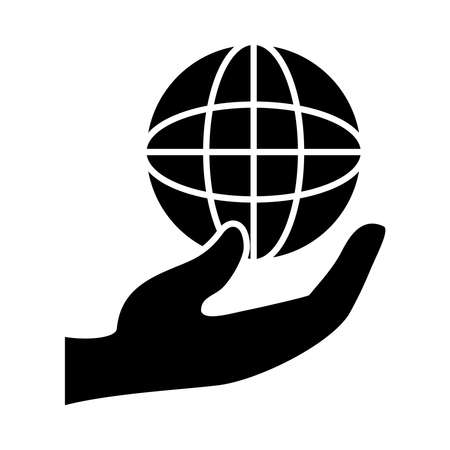 hand with global sphere icon over white background, silhouette style, vector illustration