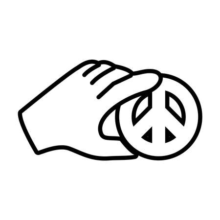 hand with peace symbol icon over white background, line style, vector illustration