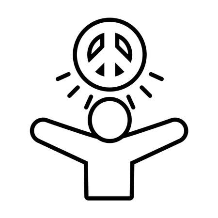 pictogram man with peace symbol icon over white background, line style, vector illustration