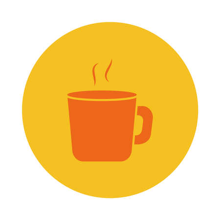 hot coffee mug icon over white background, block style, vector illustration