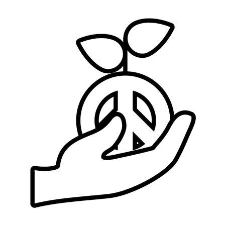 hand holding a peace plant icon over white background, line style, vector illustration 矢量图像
