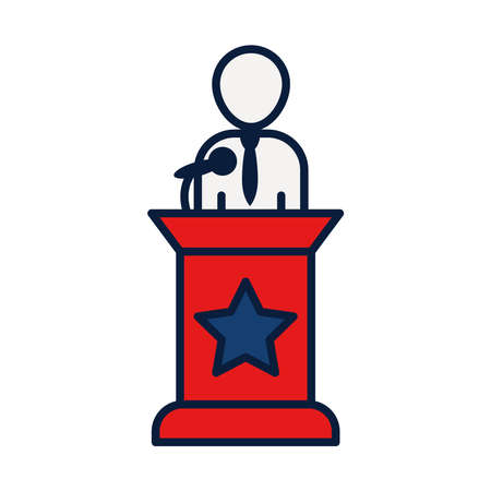 candidate for elections on the podium over white background, line and fill style, vector illustration