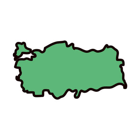 turkey map icon over white background, line and fill style, vector illustration