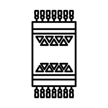 turkish carpet icon over white background, line style, vector illustration