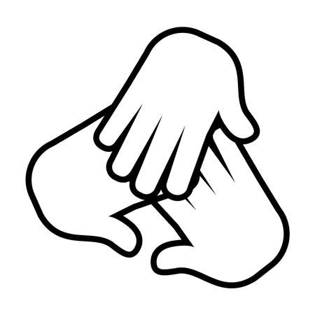 hands together icon over white background, line style, vector illustration