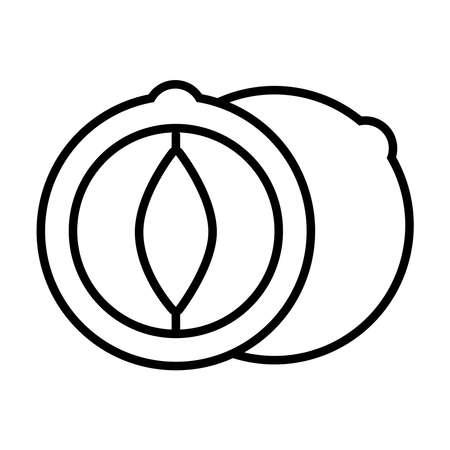 chestnut icon over white background, line style, vector illustration