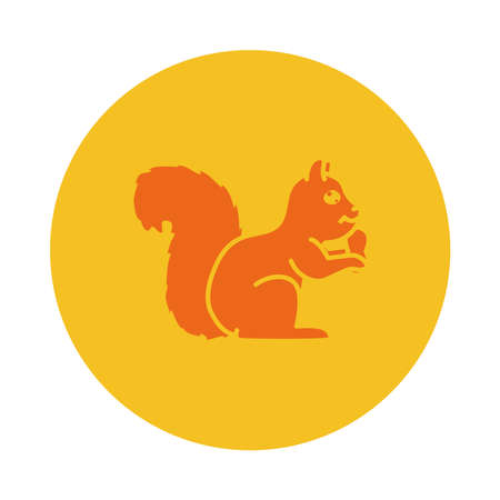 squirrel with a nut icon over white background, block style, vector illustration