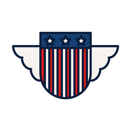 shield with wings and usa flag design over white background, line and fill style, vector illustration