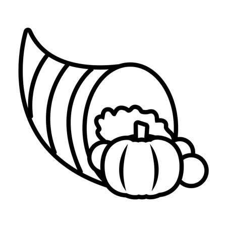 autumn cornucopia icon over white background, line style, vector illustration