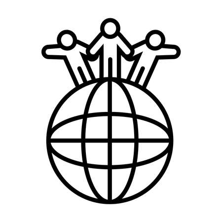 global sphere and pictogram people standing over white background, line style, vector illustration