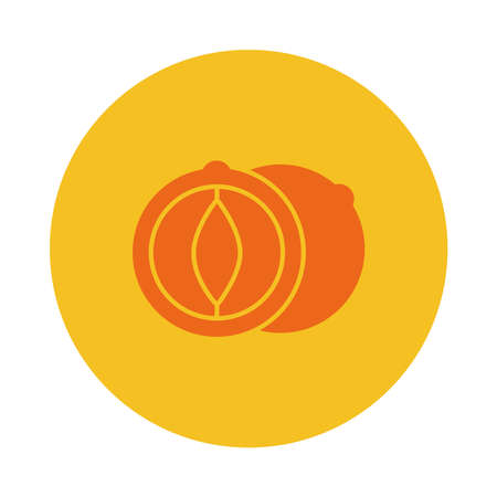 chestnut icon over white background, block style, vector illustration