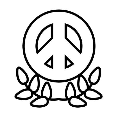 peace symbol and leaves wreath icon over white background, line style, vector illustration