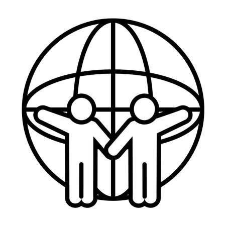 pictogram people and global sphere icon over white background, line style, vector illustration Ilustración de vector
